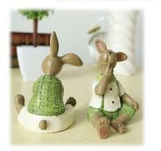 rabbit home decor set of 2 novelty easter bunnies rabbit figurine home decor green