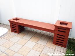 Woodworking Plans Outdoor Furniture Free by Diy Bench With Two Planters Myoutdoorplans Free Woodworking