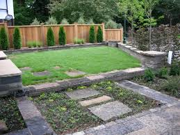outdoor a courtyard with grass and a stone floor and then a