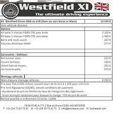 couvre si e auto westfield eleven lotus xi eleven réplica tarif 2018