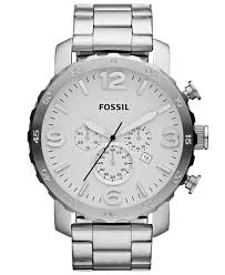 mens stainless steel bracelet watches images Lyst fossil men 39 s chronograph nate stainless steel bracelet jpeg