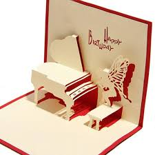 piano birthday card 3d kirigami pop up card handmade