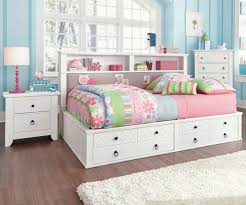 cool full size white daybed frame with storage unit plus headboard