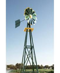 decorative green and yellow powder coated metal backyard windmill