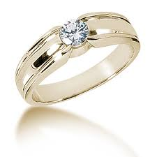 mens engagement rings men u0027s bezel set solitaire diamond ring 18k yellow gold