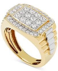 mens gold ring men s diamond cluster two tone ring 1 ct t w in 10k gold