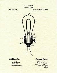thomas edison light bulb invention patent 1882 edison electric light bulb electric l patent art