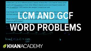lcm and gcf word problems factors and multiples pre algebra