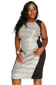 black silver sequins chevron pattern cocktail party plus size