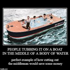 Boat People Meme - people tubbing it on a boat in the middle of a body of water