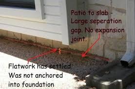 Patio Foundation Patio To Slab Settlement Jwk Inspections