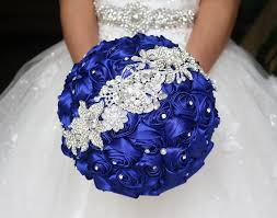 wedding flowers quotation blue bridal bouquet blue wedding bouquet satin brooch