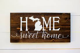 home sweet home michigan rustic entryway wall sign