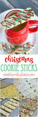 chocolate drizzled christmas cookie sticks creations by kara