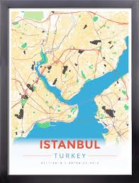 istanbul turkey map framed map poster of istanbul turkey modern colorful framed