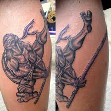 ninja animated tattoo on leg