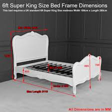 King Size Bed Height Dimensions French Chateau 6ft Super King Size White Painted Bed