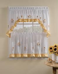 Yellow Drapery Kitchen Style Elegant White Kitchen Curtains With Sunflowers