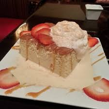 tres leches cake at la parrilla beautiful presentation and