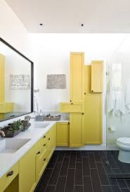 bathroom contemporary bathroom with unique yellow shelves and
