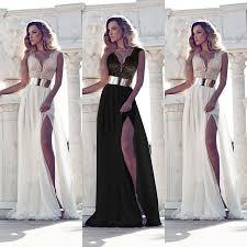 sleeveless lace chiffon long maxi evening cocktail party wedding dress