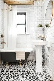 Black And White Tiled Bathroom Ideas Black And White Floor Tile Bathroom White Wall Mounted Sink White