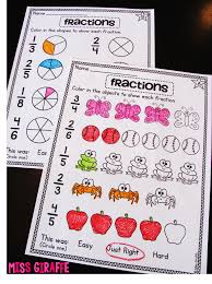 First Grade Math Coloring Worksheets First Grade Math Unit 18 Fractions Worksheets Activities And Math