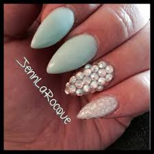 gel stilettos tiffany blue swarovski nail art silver leopard