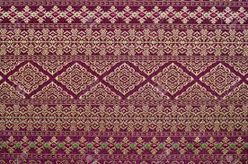 handmade thai silk fabric with thai design stock photo picture
