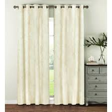 Ivory Linen Curtains Window Elements Semi Opaque Geo Gate Embroidered Faux Linen