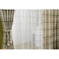 Light Linen Curtains Light Brown Cotton Linen Blend Plaid Curtains