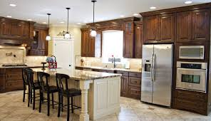 design rustic brown wooden kitchen cabinet natural stone