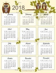 Kalender 2018 Free Free Printable 2018 Owl Calendar Kalender Freebie Meinlilapark