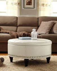 round tufted coffee table sofa living room ottoman leather pouf tufted flip round coffee round