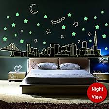 Glow In The Dark Home Decor Amazon Com Amaonm Glow In The Dark Wall Decal Stars Moon Airplane