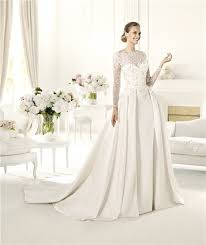 Long Sleeve Lace Wedding Dress Open Back Line Scalloped Neckline Open Back Long Sleeve Lace Satin Wedding Dress