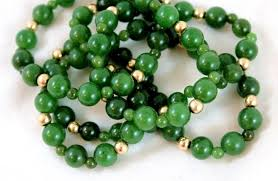 beaded jade necklace images Long vintage necklace of 14 k beads and genuine jade nephrite jpg