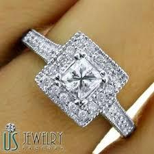 vintage square engagement rings 1 33 carat f vs2 square halo princess cut engagement ring