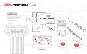 architectural layouts architectural layouts in trendy polygonal stock vector