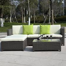 Outdoor Patio Sectional Furniture - costway 5pc outdoor patio sofa set sectional furniture pe wicker