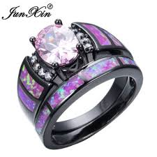 black and pink wedding ring sets shop pink and black engagement ring on wanelo