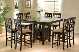 discount dining room sets cappuccino 9 pc counter height set w lazy susan and built in wine rack