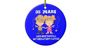 35 year wedding anniversary 35th wedding anniversary gift for him ceramic ornament