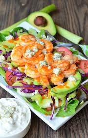 buffalo shrimp salad with homemade blue cheese dressing will