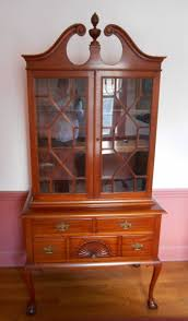 vintage mahogany glass front high boy style 2 piece hutch on ball