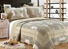 Bed Quilts And Coverlets Amazon Com All For You 3 Piece Reversible Bedspread Coverlet