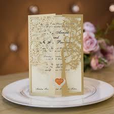 tri fold invitations fancy gold glitter tree laser cut trifold wedding invitations
