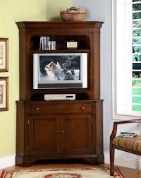 furniture brown stained wooden tall corner media furniture and tv