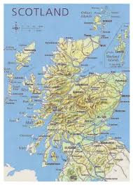 Map Of Europe With Major Cities by Map Of Scotland With Relief Roads Major Cities And Airports At