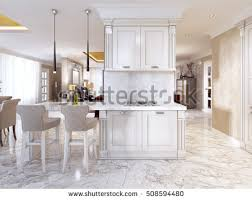 Bar Counter Top White Kitchen Design Features Large Bar Stock Photo 555797371
